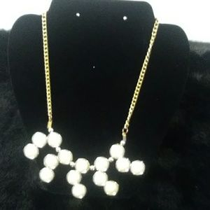 Simulated Pearl necklace with a chain